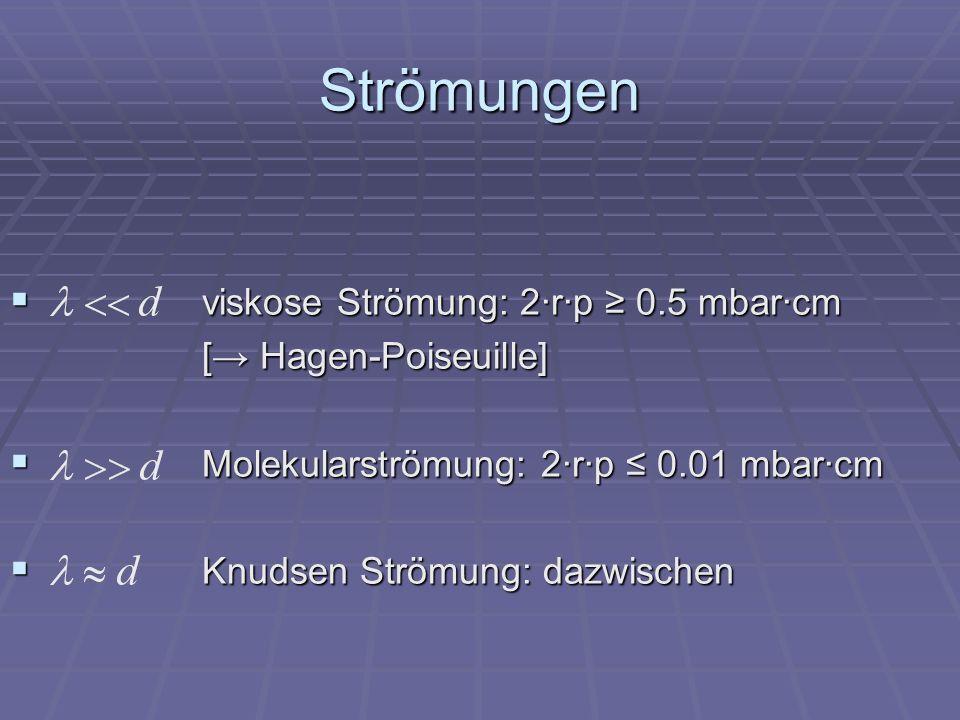 Strömungen viskose Strömung: 2·r·p ≥ 0.5 mbar·cm [→ Hagen-Poiseuille]